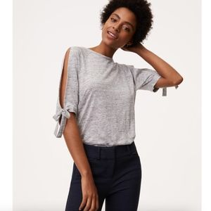 LOFT Linen Tie Split Sleeve Top